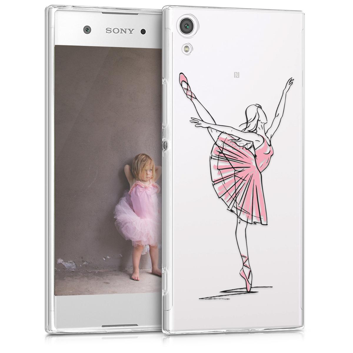 Kvalitní silikonové TPU pouzdro | obal pro Sony Xperia XA1 - Docela balerína černé / růžové / průhledné