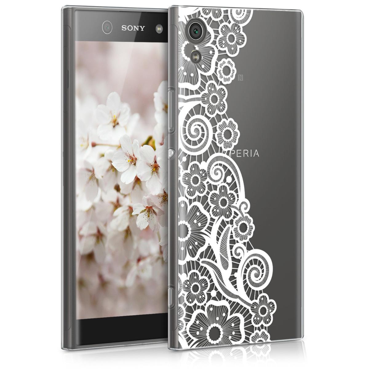 Kvalitní silikonové TPU pouzdro | obal pro Sony Xperia XA1 - moře of ??květy Lace bílé / průhledné
