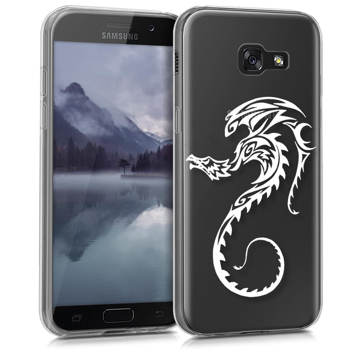 Kvalitní silikonové TPU pouzdro pro Samsung A5 (2017) - Tribal Dragon bílé / transparentní