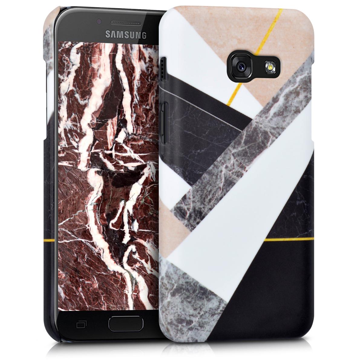 Kvalitní plastové pouzdro pro Samsung A3 (2017) - Smíšená Marble černé / bílé / Beige