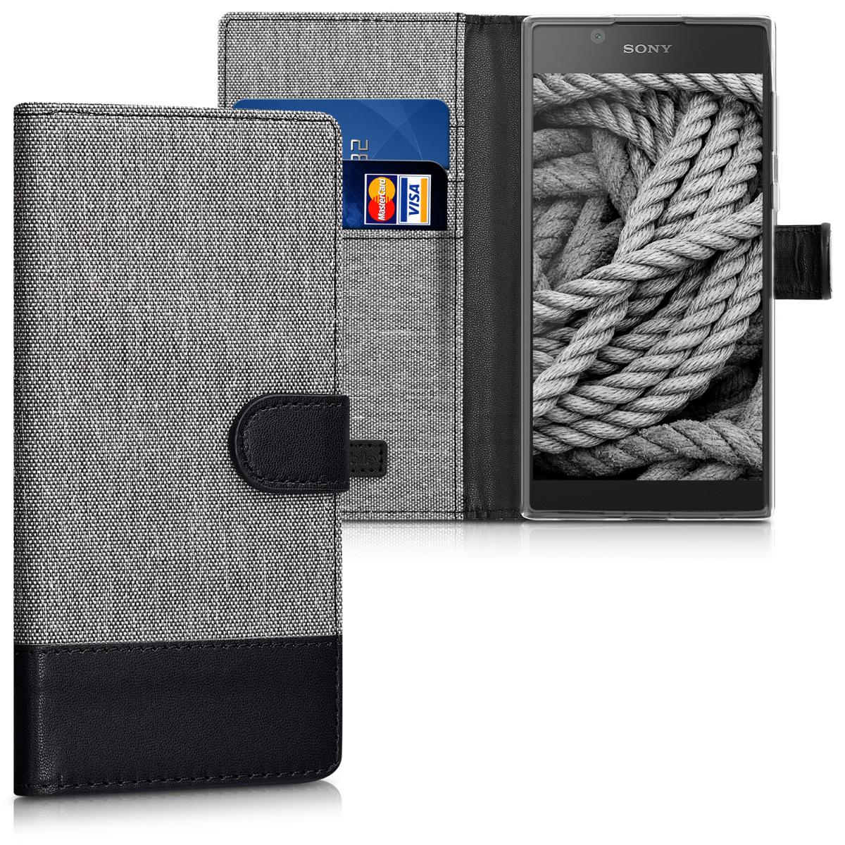 Textilní látkové pouzdro | obal pro Sony Xperia L1 - šedé/ černé