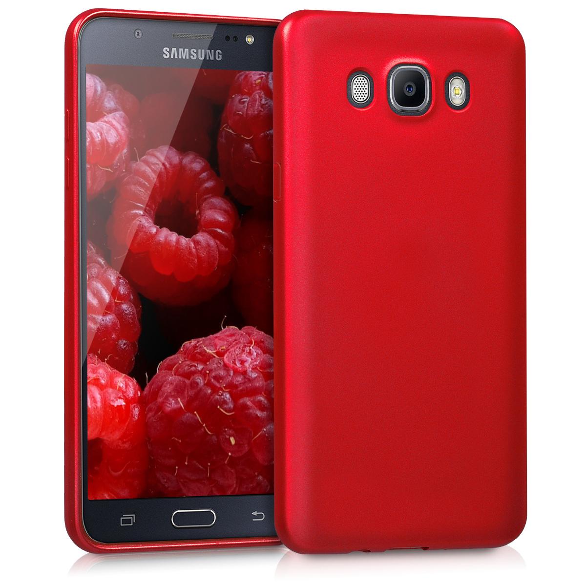 Kvalitní silikonové TPU pouzdro pro Samsung J7 (2016) - metalické tmavě červená