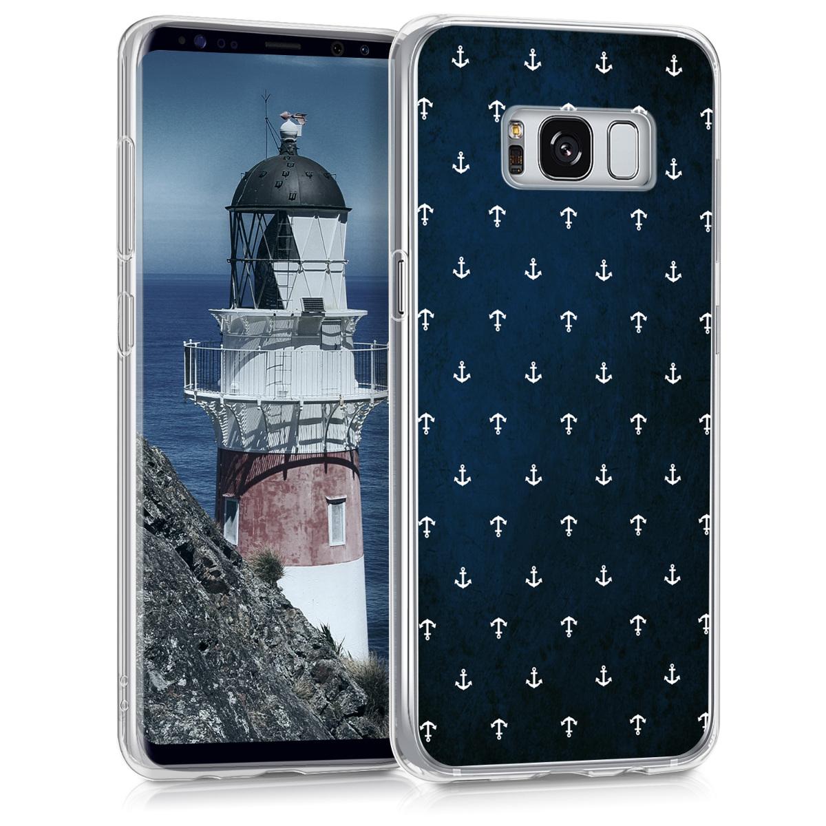 Kvalitní silikonové TPU pouzdro pro Samsung S8 - Anchor bílé / tmavě modré