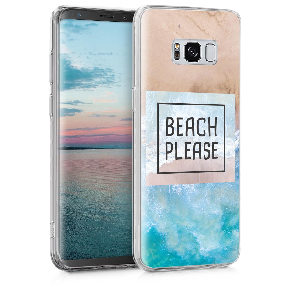 Kvalitní silikonové TPU pouzdro pro Samsung S8 - Beach Prosím modré / Hnědá