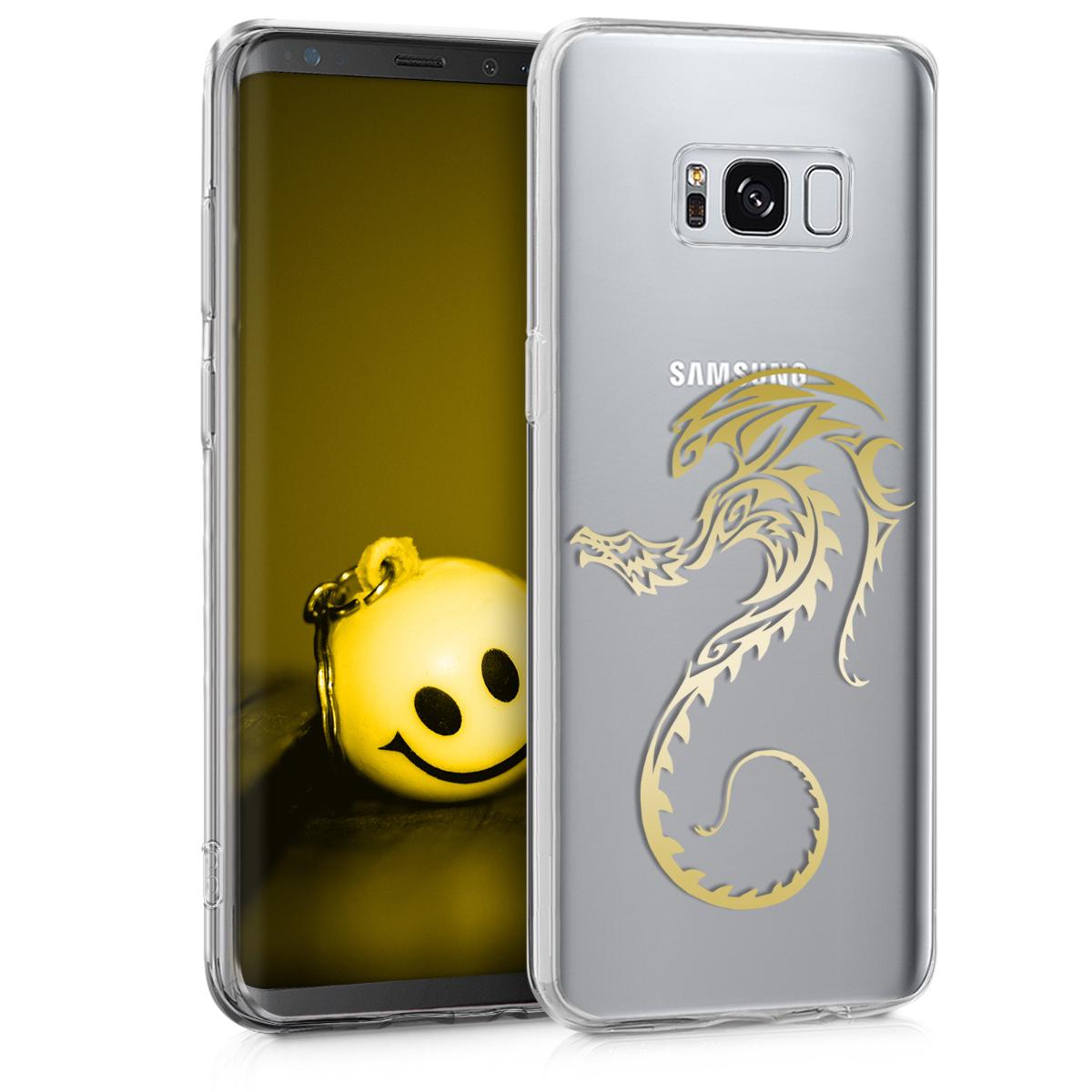 Kvalitní silikonové TPU pouzdro pro Samsung S8 - Tribal Dragon Gold / transparentní