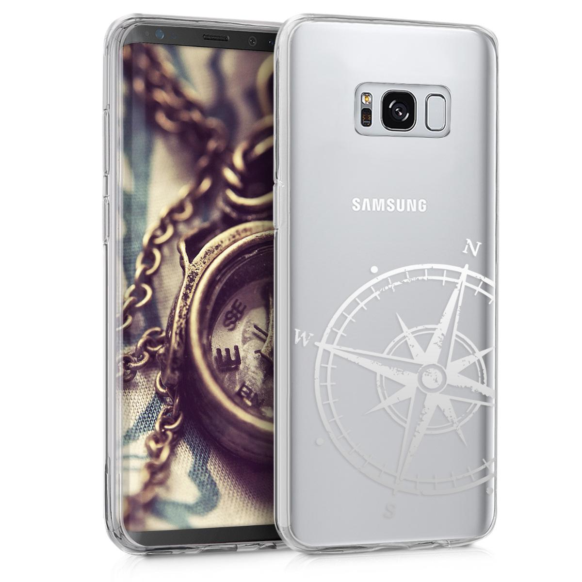 Kvalitní silikonové TPU pouzdro pro Samsung S8 - Navigační Compass stříbrné / transparentní