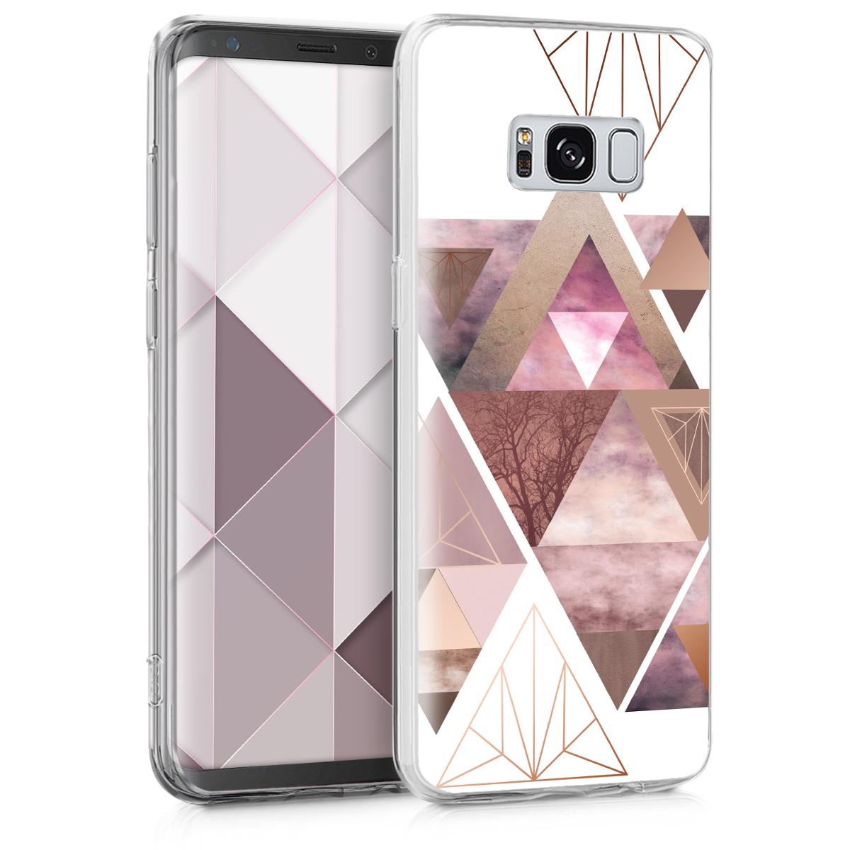 Kvalitní silikonové TPU pouzdro pro Samsung S8 - Patchwork trojúhelníky světle růžové / starorůžové rosegold / bílé