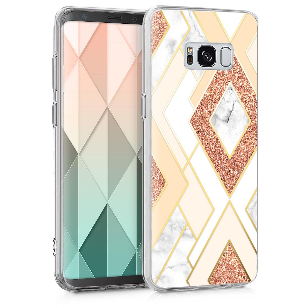 Kvalitní silikonové TPU pouzdro pro Samsung S8 - Diamond Mix Gold / měď / Beige