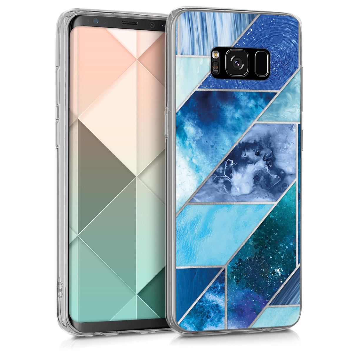 Kvalitní silikonové TPU pouzdro pro Samsung S8 - Geometrické vzory modré / tyrkysové / stříbrné