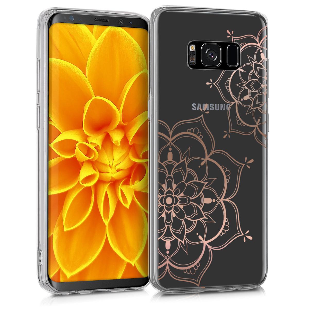 Kvalitní silikonové TPU pouzdro pro Samsung S8 - květiny Twins starorůžové rosegold / transparentní