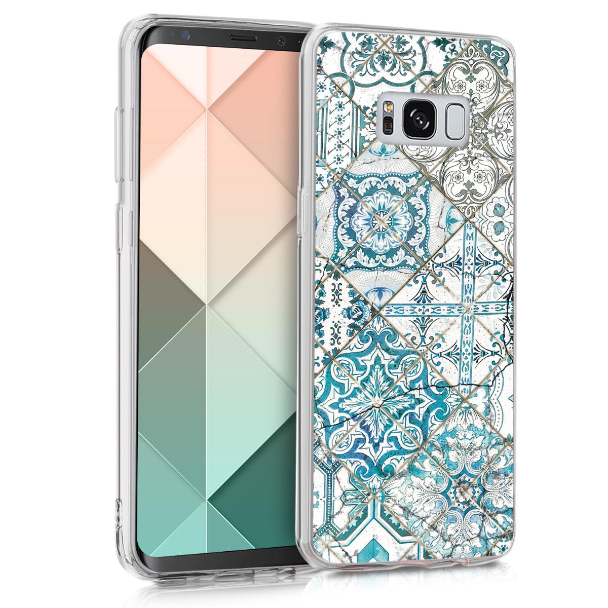 Kvalitní silikonové TPU pouzdro pro Samsung S8 - Moroccan Vibes monochromaticky modré / šedé / bílá