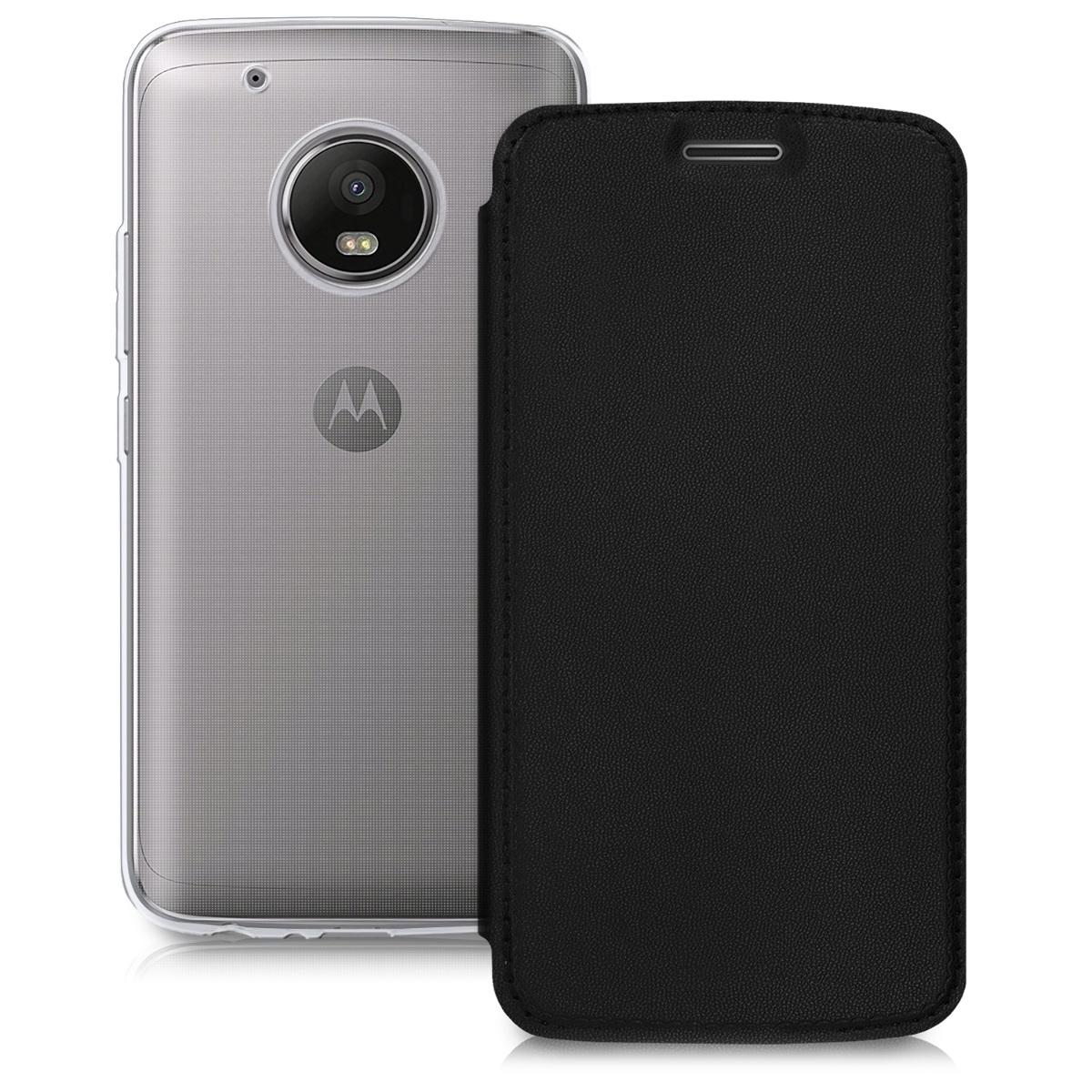 Kožené pouzdro | obal pro Motorola Moto G5 Plus - Černá / průhledná
