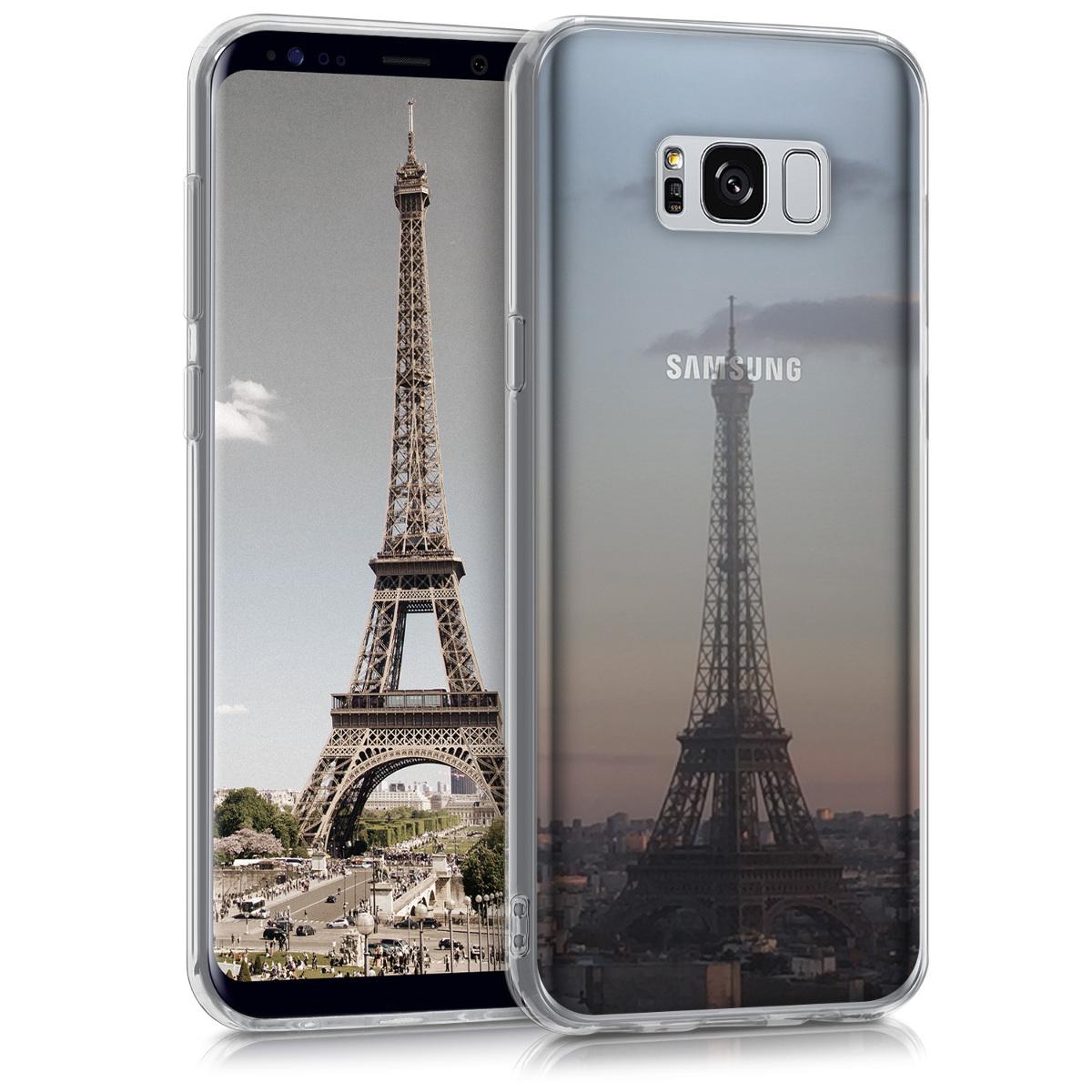 Kvalitní silikonové TPU pouzdro pro Samsung S8 Plus - Eiffelova věž antracit / světle  růžová / transparentní