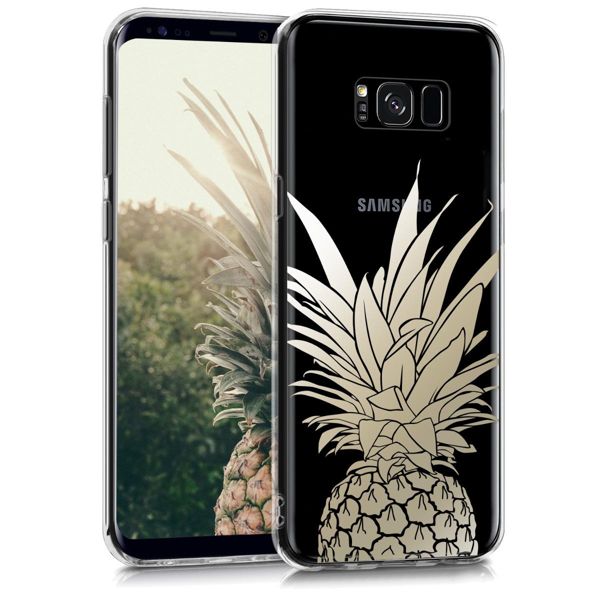 Kvalitní silikonové TPU pouzdro pro Samsung S8 Plus - Ananas keř Gold / transparentní