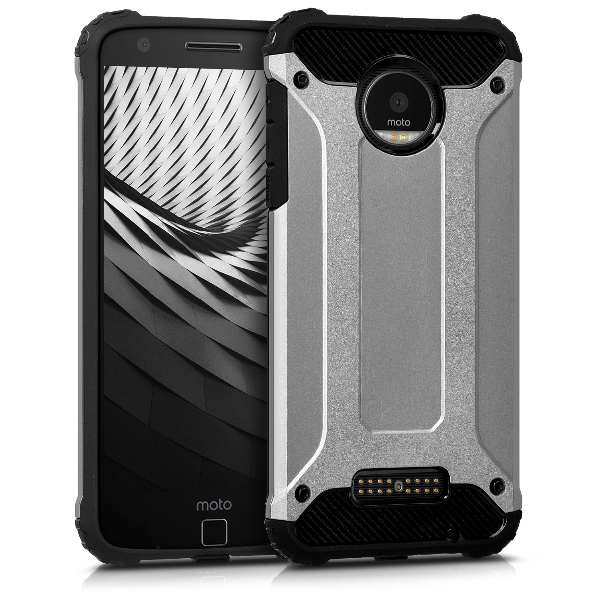 3x folie na display | screenprotector pouzdro | obal pro Motorola Moto Z - Transformer Antracitová / Černá