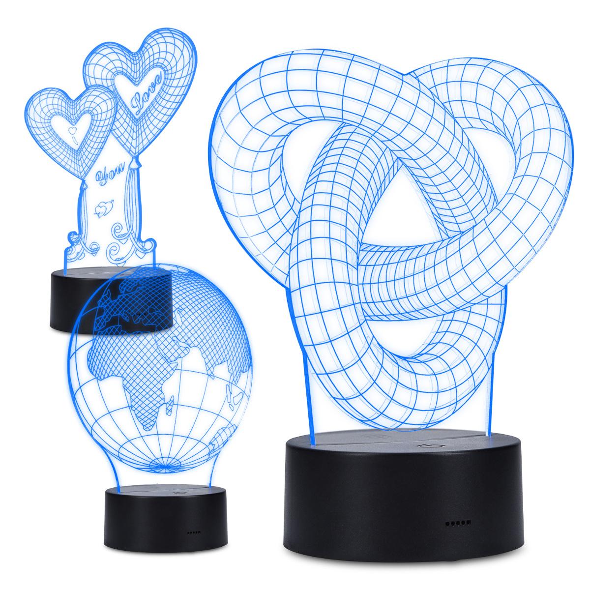 3d led dekolampe illusion lampe nachtlicht 3 designs optische t uschung ebay. Black Bedroom Furniture Sets. Home Design Ideas