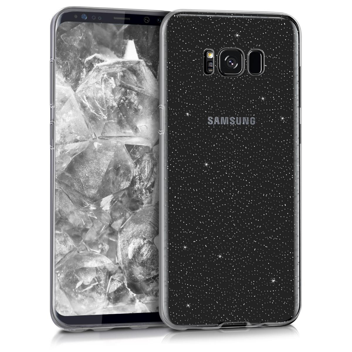 Kvalitní silikonové TPU pouzdro pro Samsung S8 Plus - Glitter Dots stříbrné / transparentní