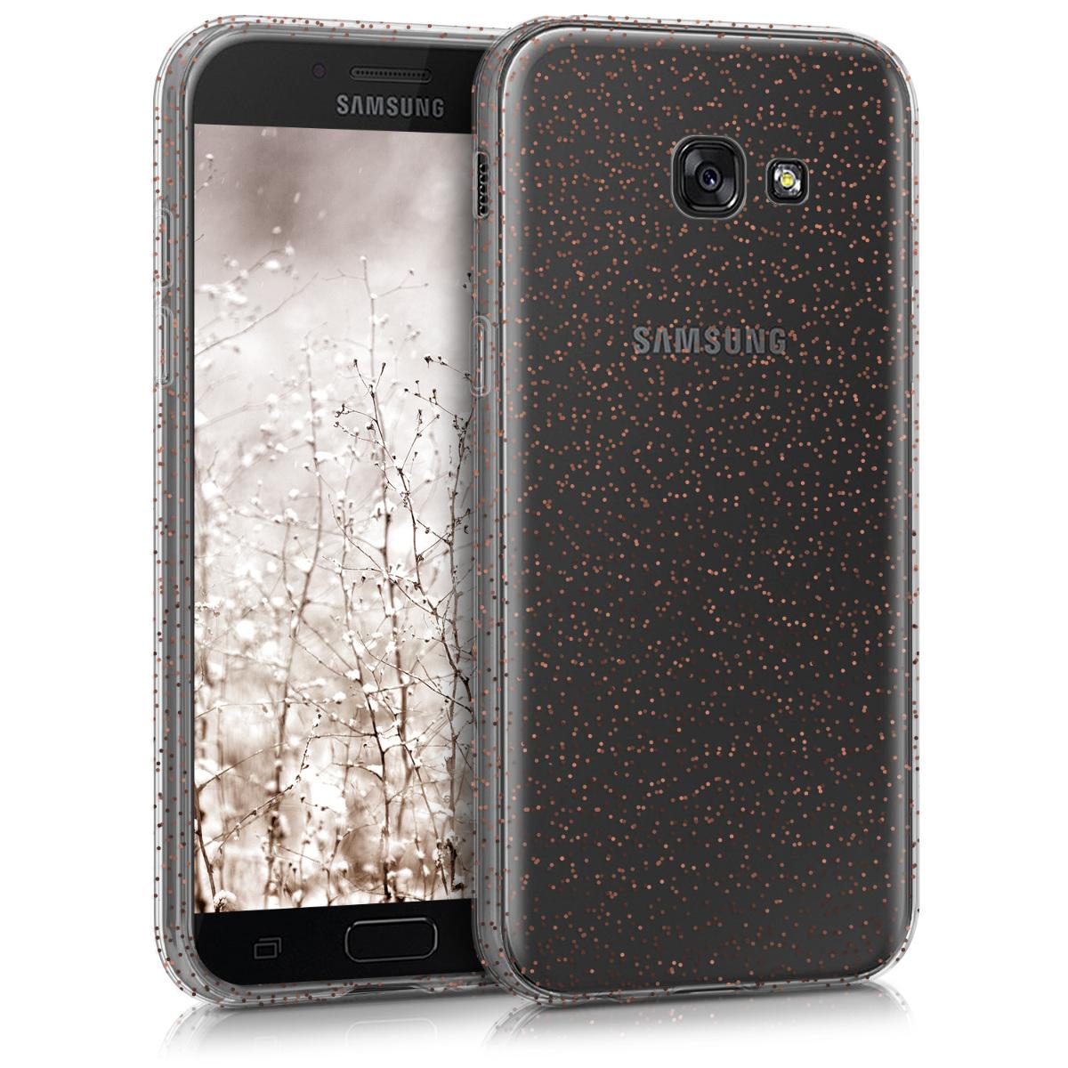 Kvalitní silikonové TPU pouzdro pro Samsung A5 (2017) - Glitter Dots červená / transparentní