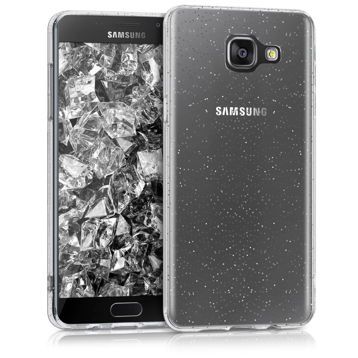 Kvalitní silikonové TPU pouzdro pro Samsung A5 (2016) - Glitter Dots stříbrné / transparentní