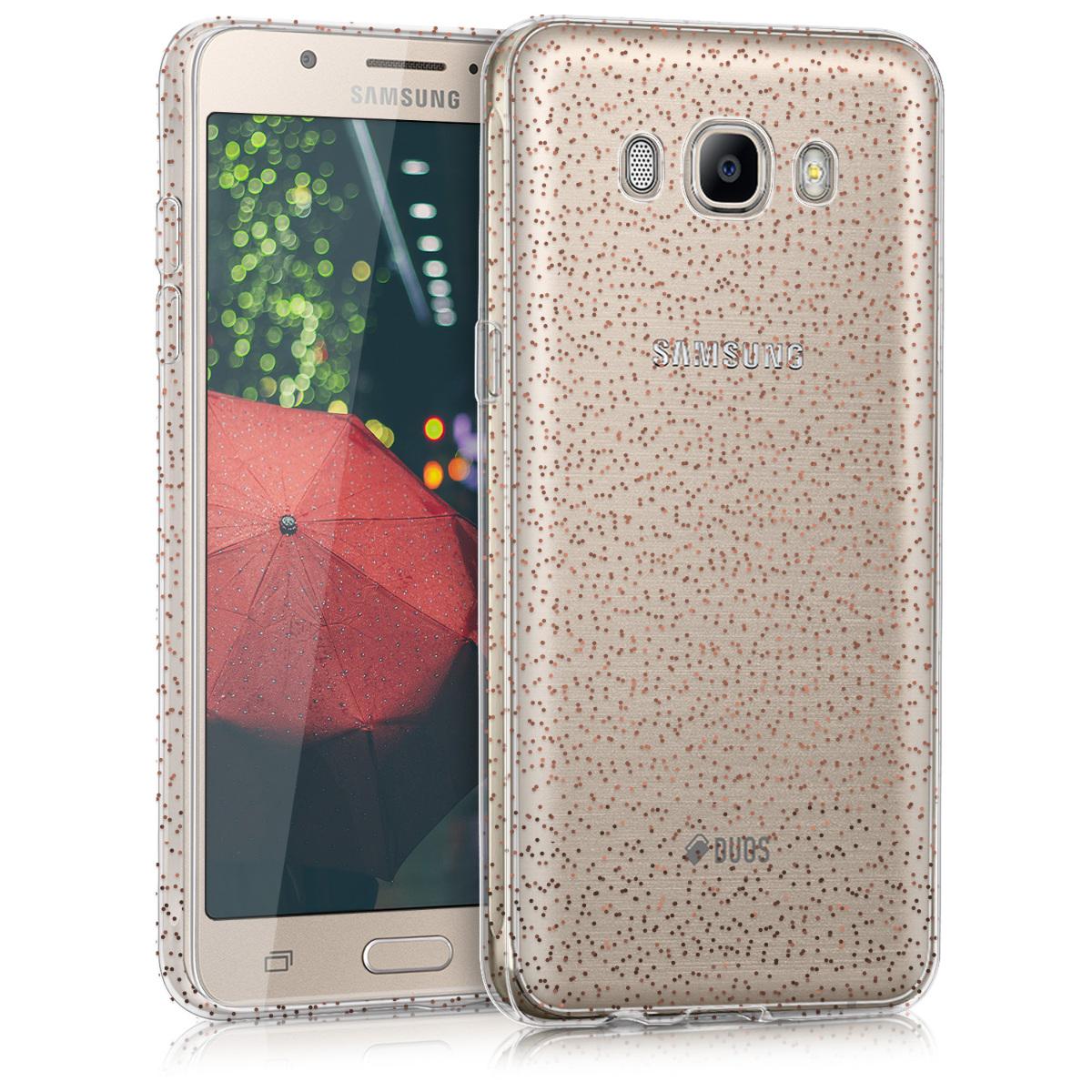 Kvalitní silikonové TPU pouzdro pro Samsung J5 (2016) DUOS - Glitter Dots červená / transparentní