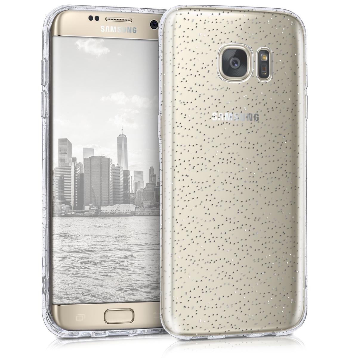 Kvalitní silikonové TPU pouzdro pro Samsung S7 edge - Glitter Dots stříbrné / transparentní
