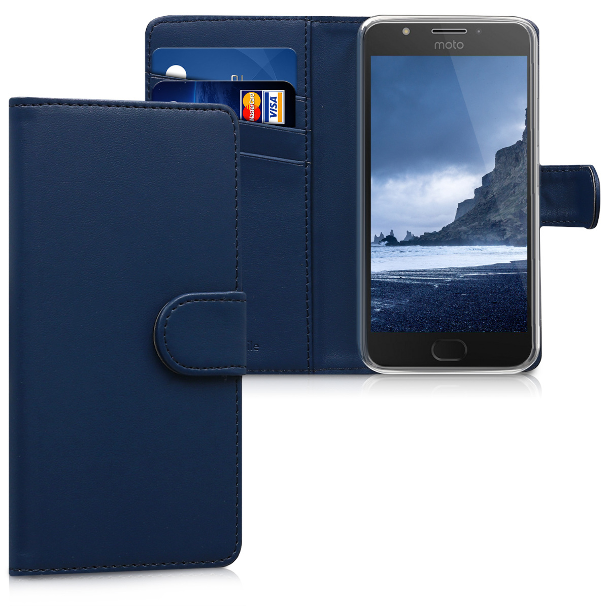 Kožené pouzdro   obal pro Motorola Moto E4 - Tmavě modrá