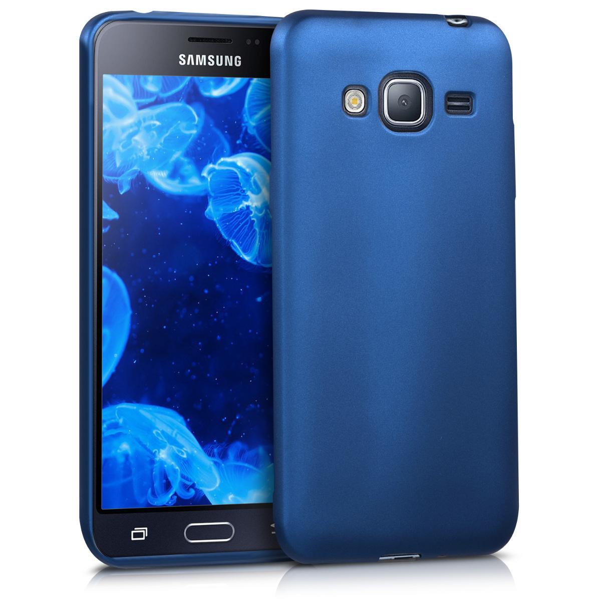 Kvalitní silikonové TPU pouzdro pro Samsung J3 (2016) DUOS - modré metalické