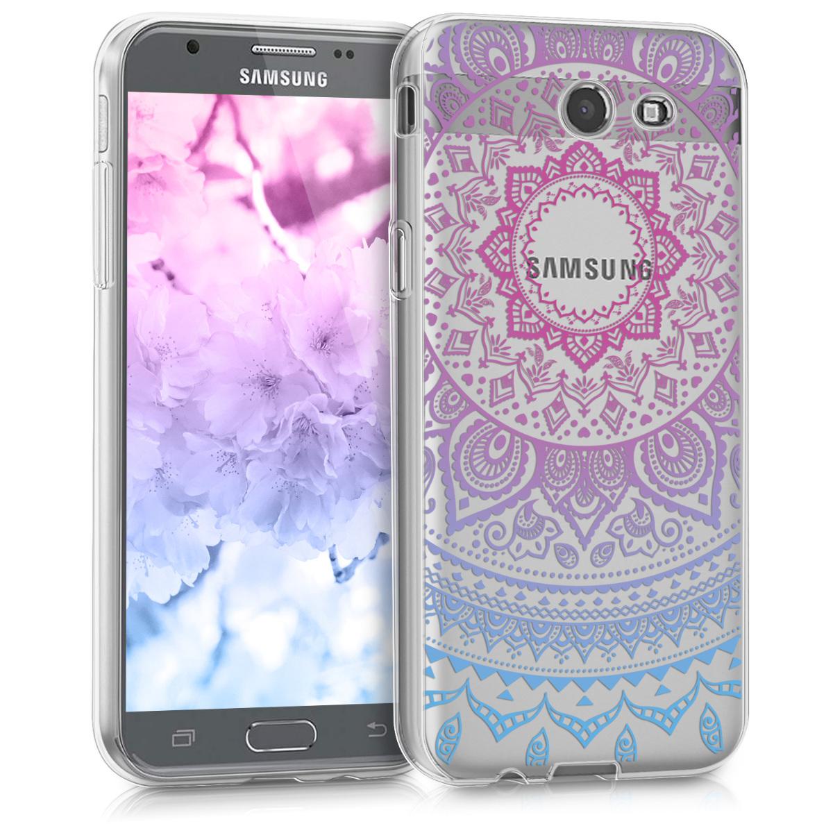 Kvalitní silikonové TPU pouzdro pro Samsung J3 2017 (USA) - indické slunce modré / tmavě růžová / transparentní