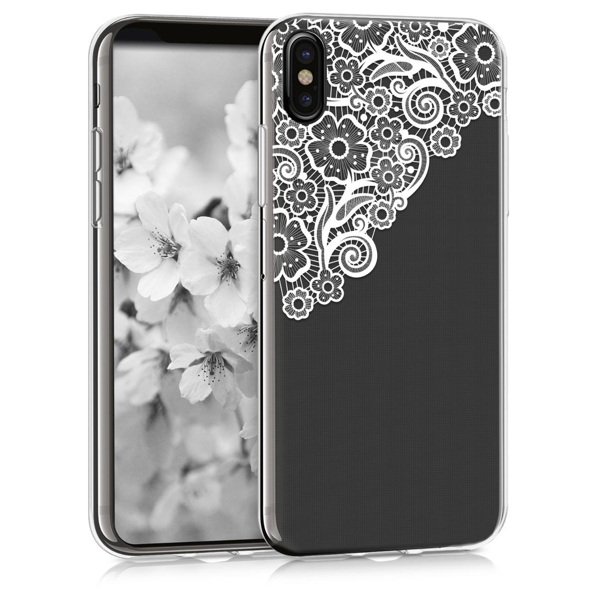 Kvalitní silikonové TPU pouzdro pro Apple iPhone X - Moře květů Lace White | Transparent