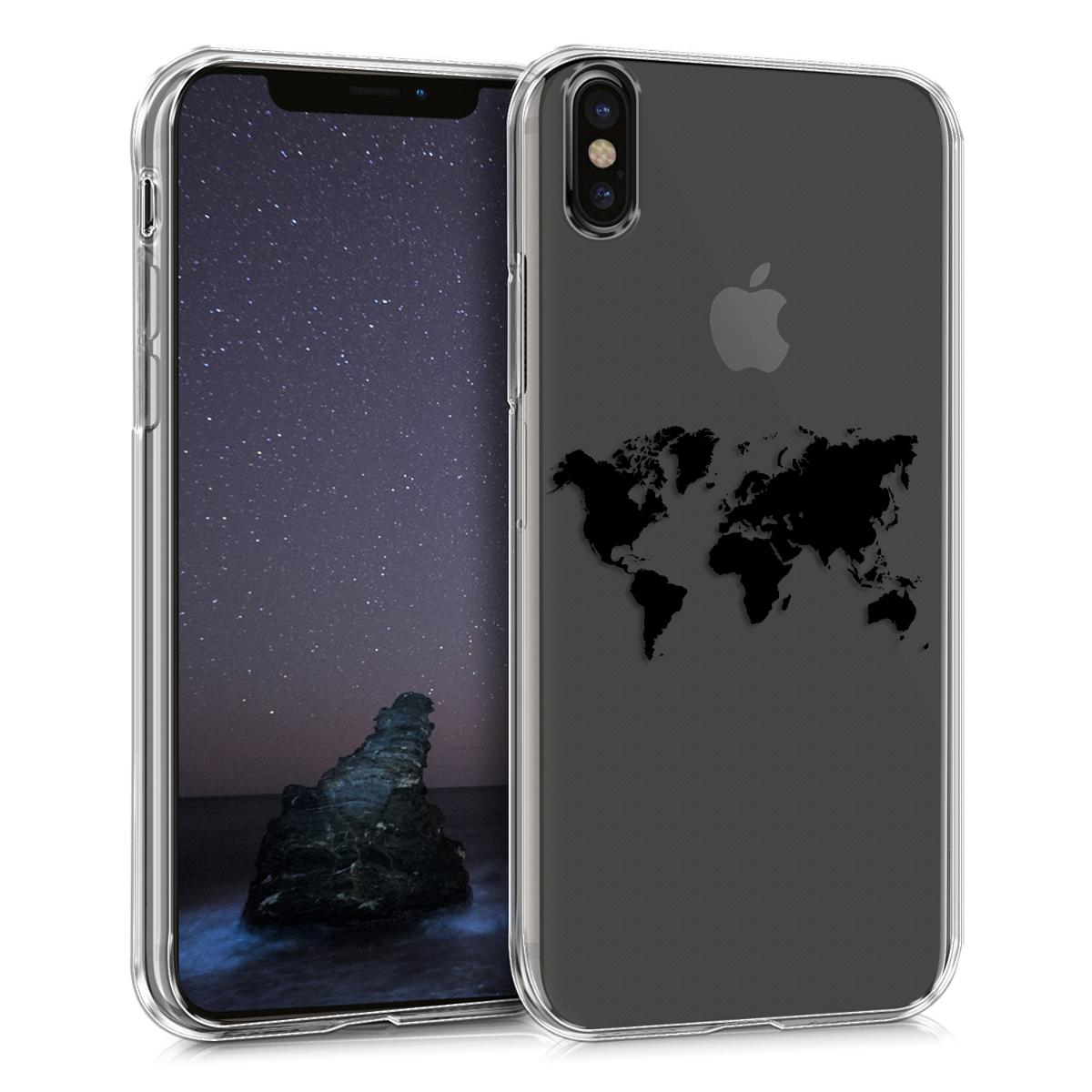 Kvalitní silikonové TPU pouzdro pro Apple iPhone X - Travel Outline Black | Transparent