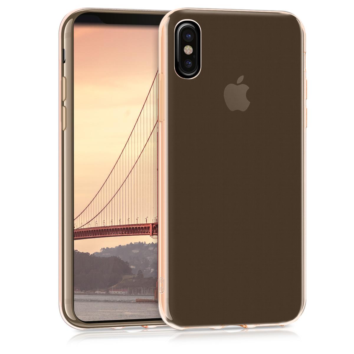 Kvalitní silikonové TPU pouzdro pro Apple iPhone X - Rose Gold | Transparent