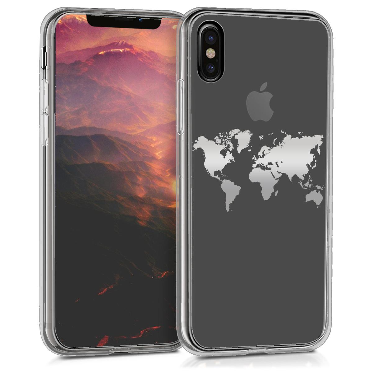 Kvalitní silikonové TPU pouzdro pro Apple iPhone X - Travel Outline Silver | Transparent
