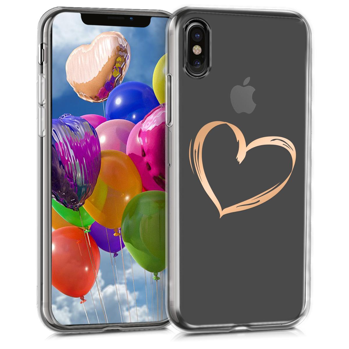 Kvalitní silikonové TPU pouzdro pro Apple iPhone X - Brushed Heart Rose Gold | Transparent