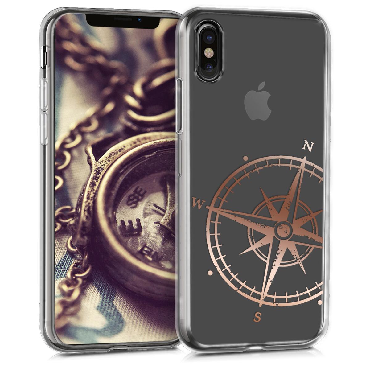 Kvalitní silikonové TPU pouzdro pro Apple iPhone X - Navigační Compass Rose Gold | Transparent