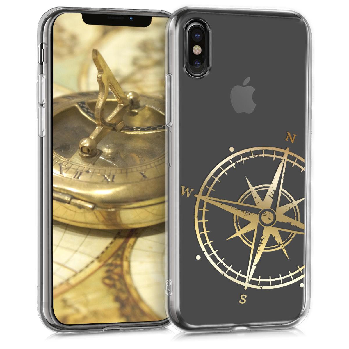Kvalitní silikonové TPU pouzdro pro Apple iPhone X - Navigační Compass Gold | Transparent