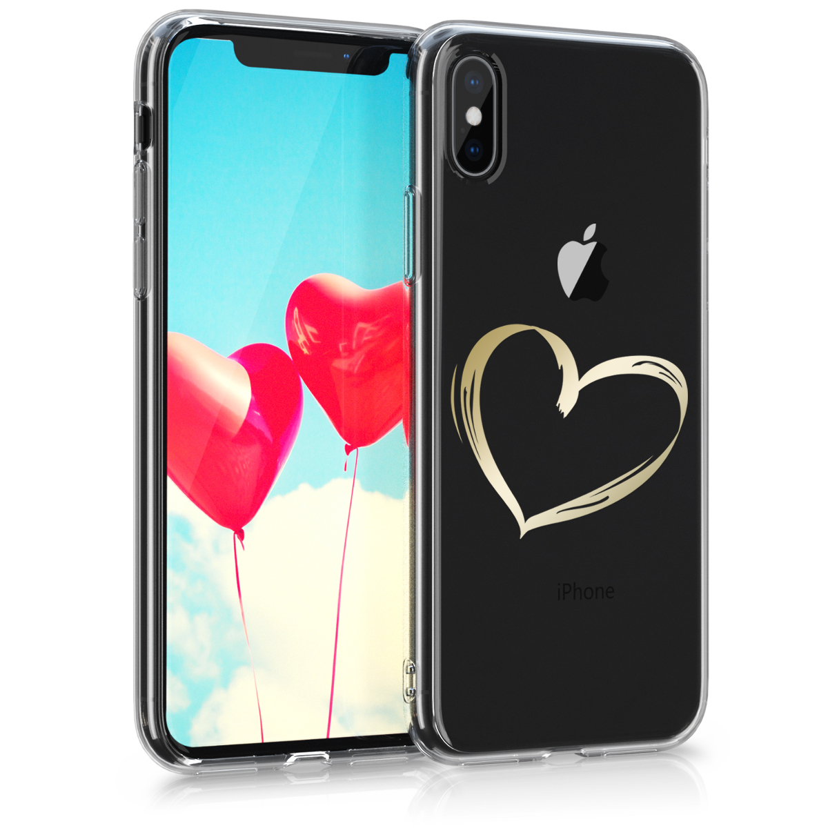 Kvalitní silikonové TPU pouzdro pro Apple iPhone X - Brushed Heart Gold | Transparent