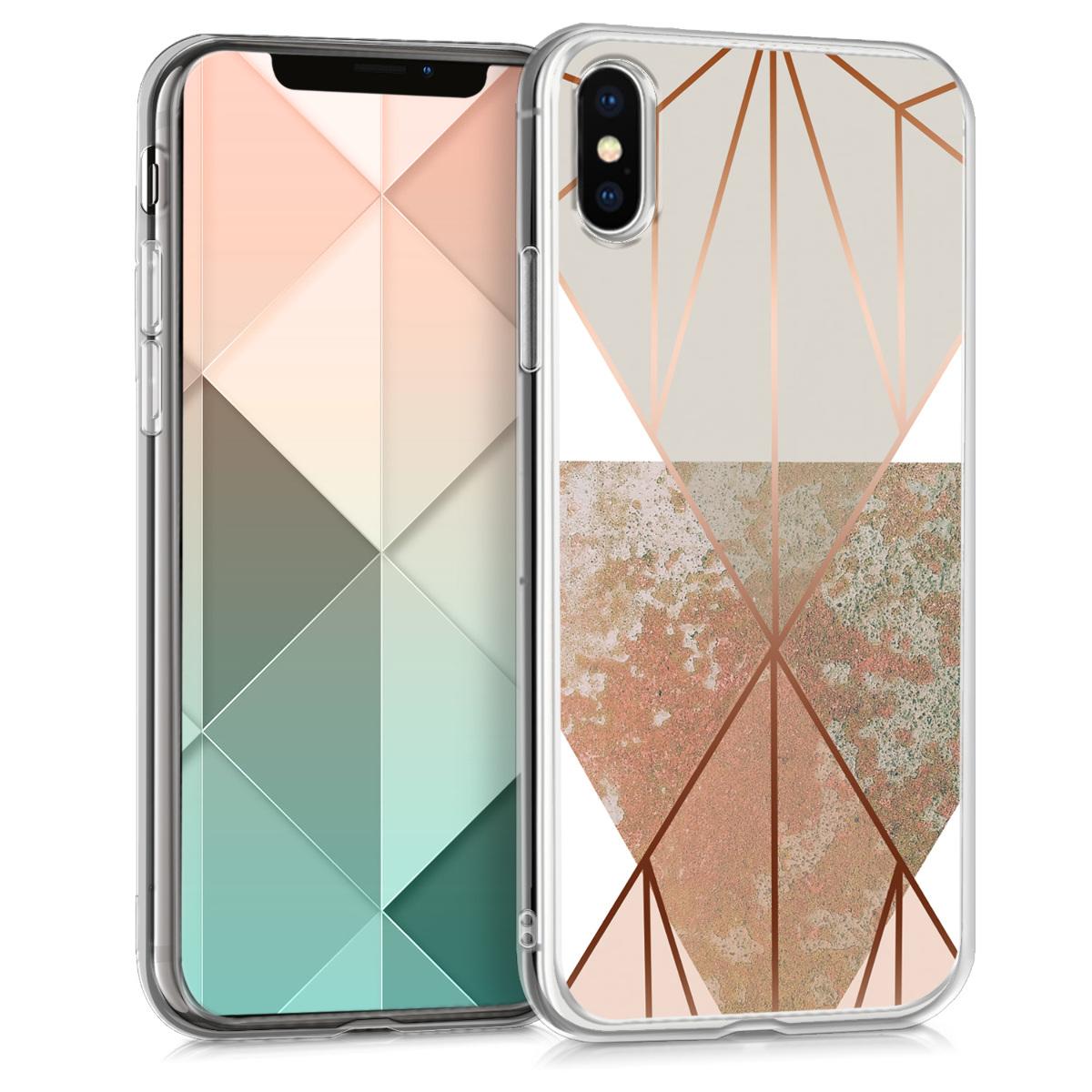 Kvalitní silikonové TPU pouzdro pro Apple iPhone X - Trojúhelníkové tvary Beige | Rose Gold | White