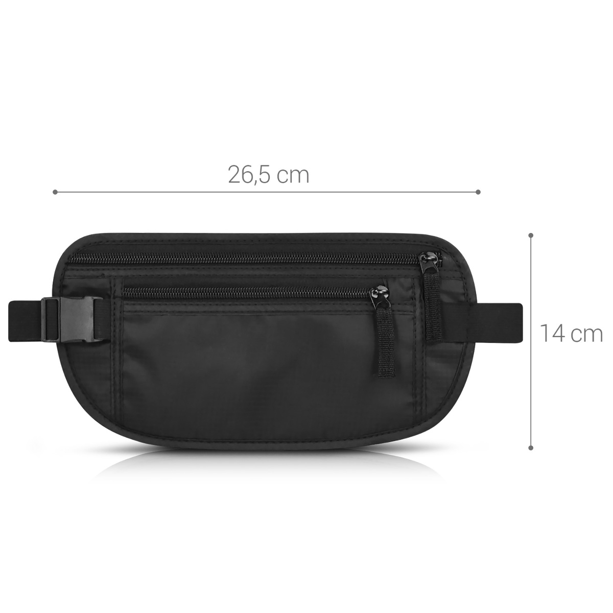 faa9449bf kwmobile fanny pack cards protective cover RFID blocker -Flat hip bag with RFID  protection to travel - Travel fanny pack bag document bag black - Unisex ...