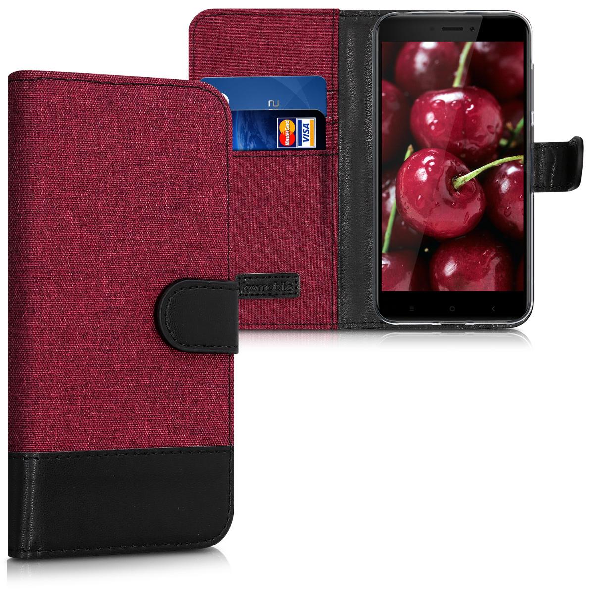 Textilní látkové pouzdro | obal pro Xiaomi Redmi 4X - tmavě červený / černý