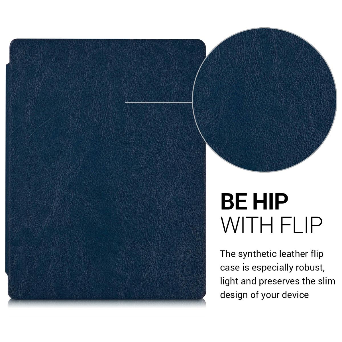 Flip cover for kobo aura h2o edition 2 dark blue for Housse kobo aura h2o edition 2