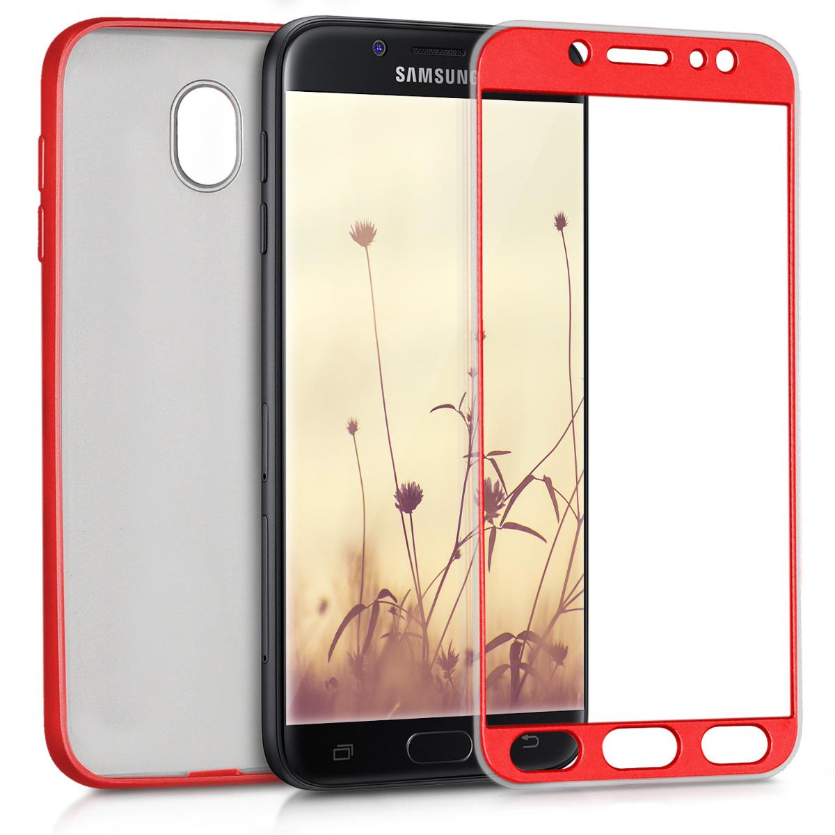 Kvalitní silikonové TPU pouzdro pro Samsung J7 (2017) DUOS - metalické tmavě červená