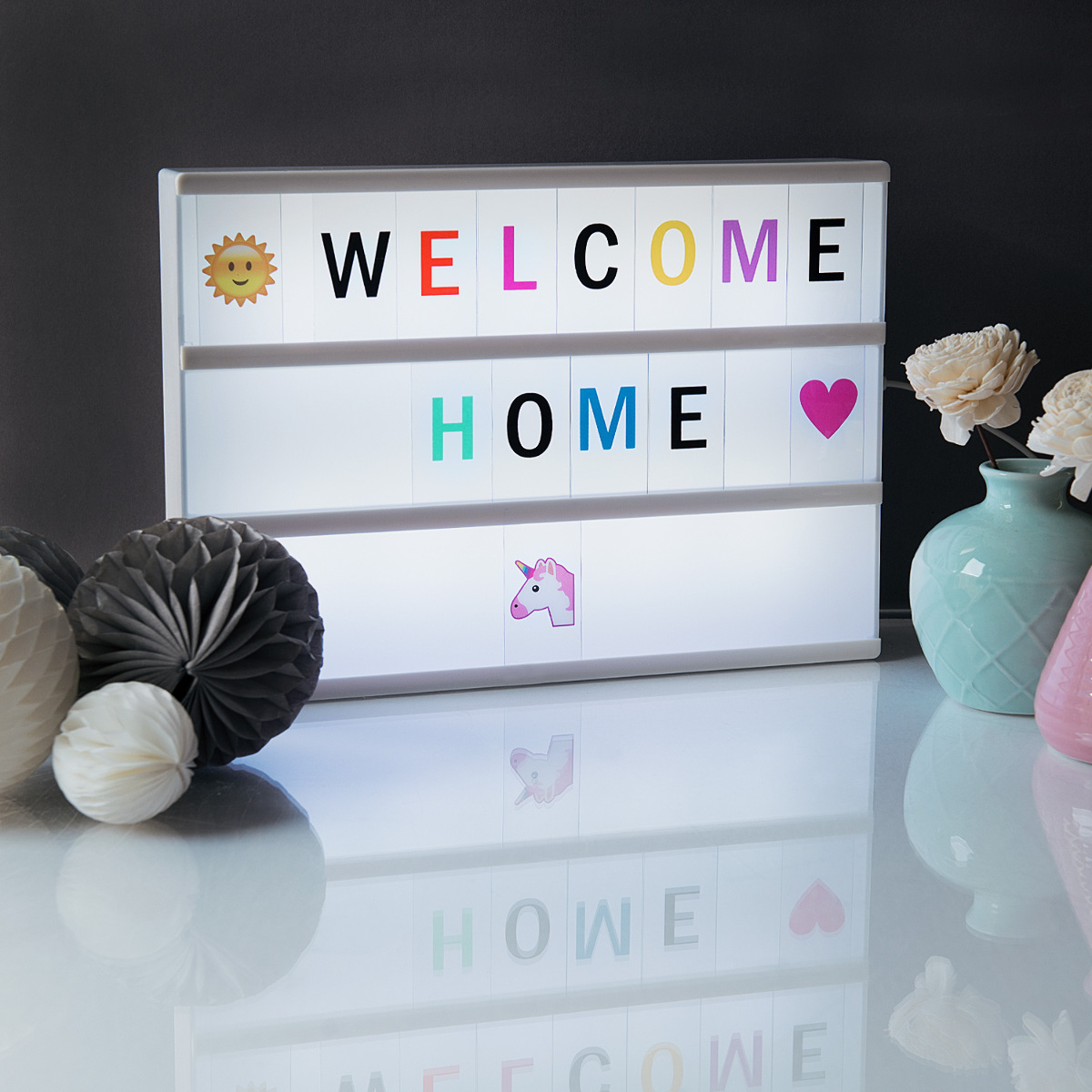 led lichtbox a4 lightbox 378 buchstaben bunt schwarz emoji netzteil light box ebay. Black Bedroom Furniture Sets. Home Design Ideas