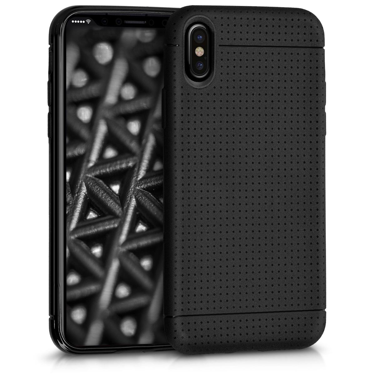 Kvalitní silikonové TPU pouzdro pro Apple iPhone X - Dot Matrix Black Matte
