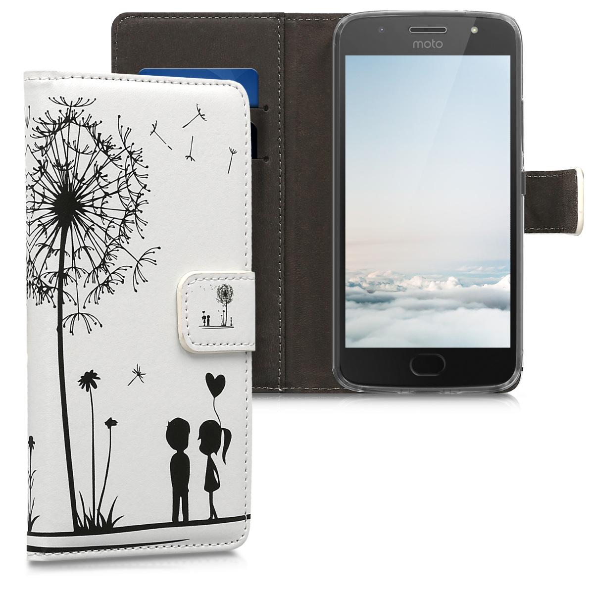 Kožené pouzdro | obal pro Motorola Moto G5S - Pampeliška lásky černá / bílá