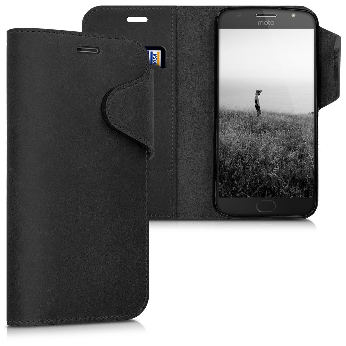 Kožené pouzdro | obal pro Motorola Moto G5S Plus - Černá