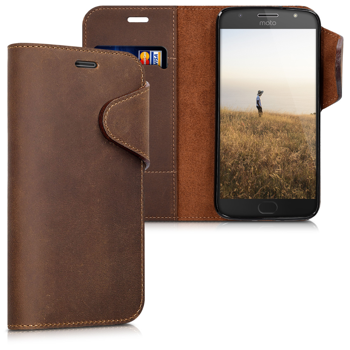 Kožené pouzdro | obal pro Motorola Moto G5S Plus - Hnědá