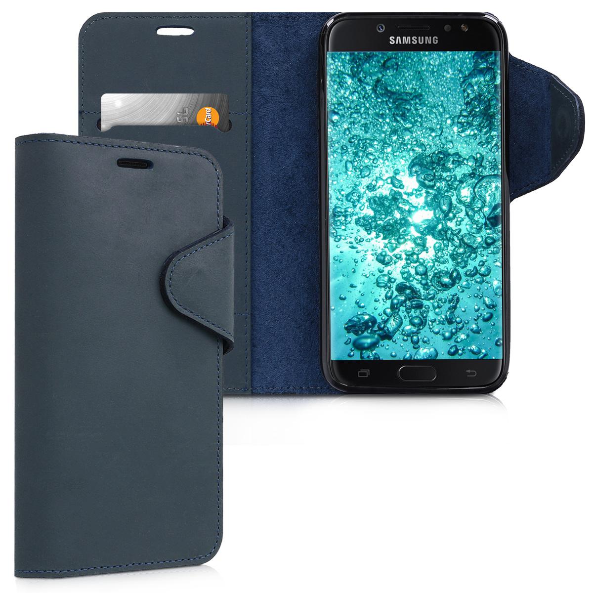 Kožené pouzdro pro Samsung J7 (2017) DUOS - tmavě modré