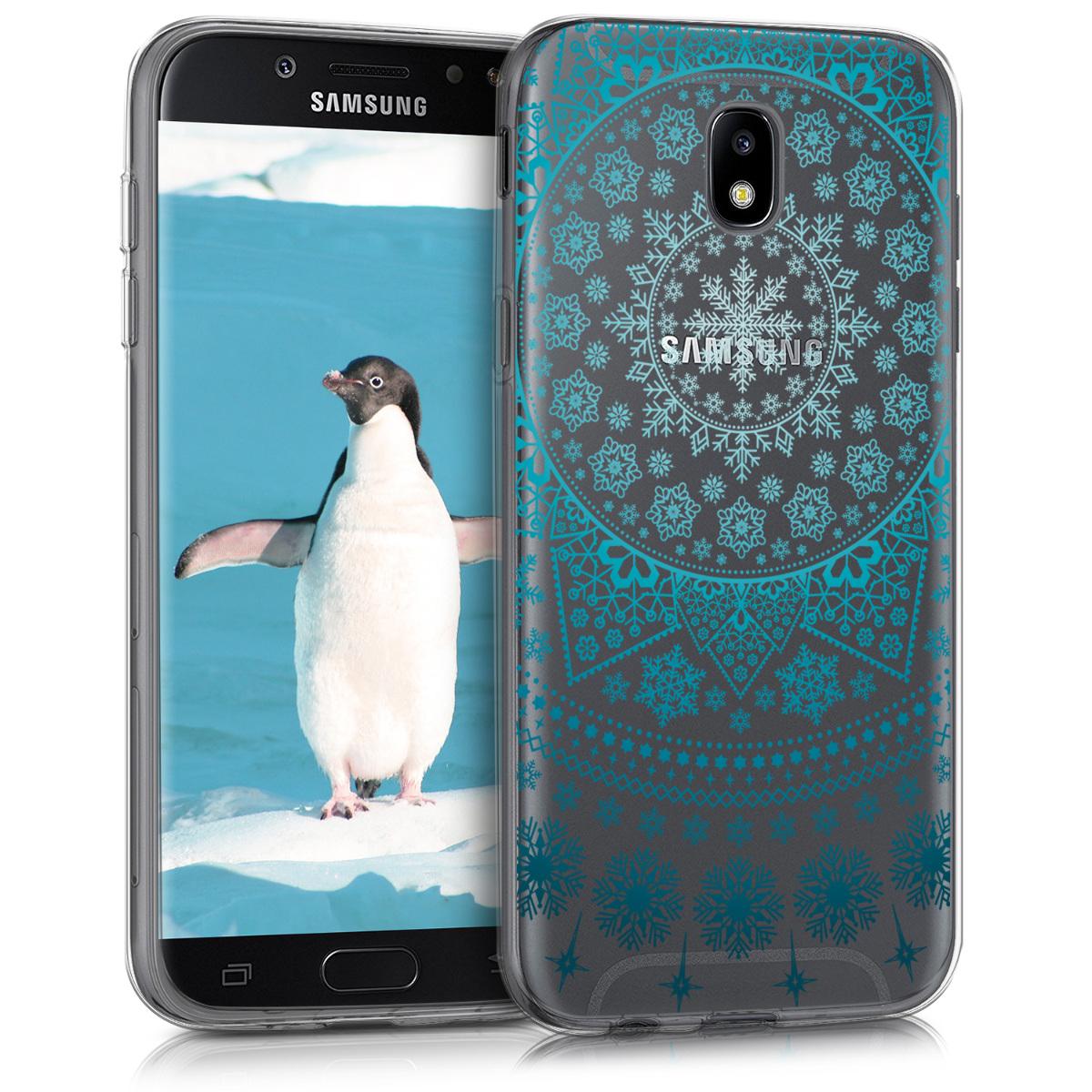 Kvalitní silikonové TPU pouzdro pro Samsung J5 (2017) DUOS - Arctic Snowflake modré / světle  modré / transparentní