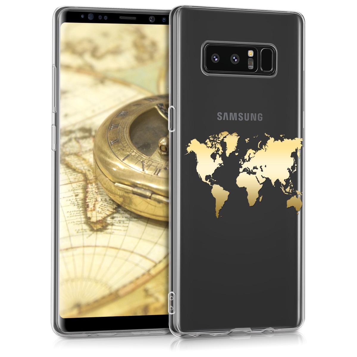 Kvalitní silikonové TPU pouzdro pro Samsung Note 8 DUOS - Travel Outline Gold / transparentní
