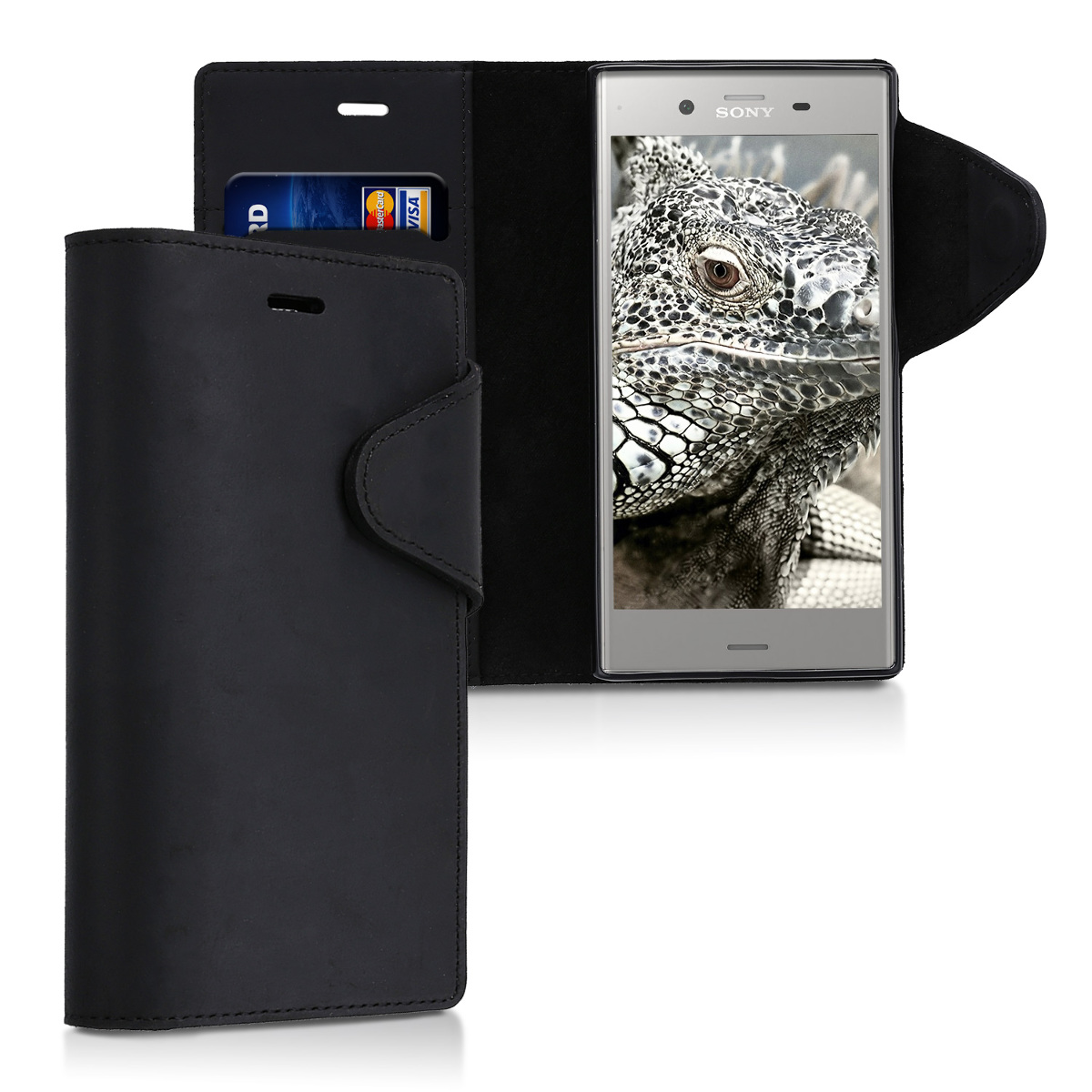 Kožené pouzdro | obal pro Sony Xperia XZ1 - černé